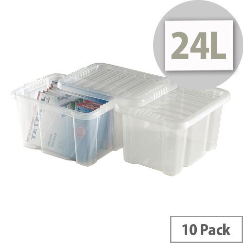 Topstore 24 Ltr Clear Storage Boxes Pack Of 10 Transparent Plastic Containers