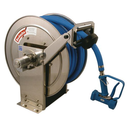 Spring Rewind Stainless Steel Hose Reel 30M 12.5mm - Reel Only, No Hose