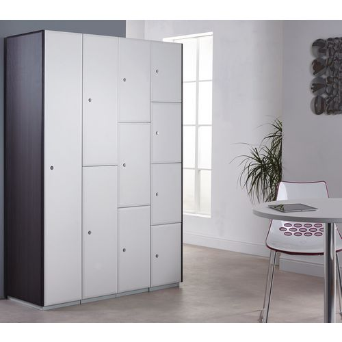 Executive Laminate Door Locker 1800x300x450 2 Compartment Pearl White Doors