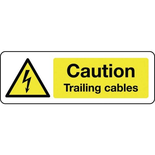 Sign Caution Trailing Cables Self-Adhesive Vinyl 300x100