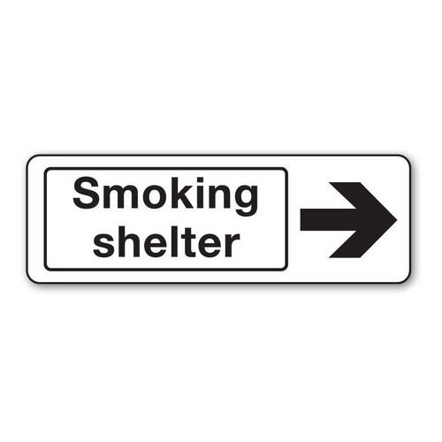 Sign Smoking Shelter Arrow Self-Adhesive Vinyl 300X100 Right