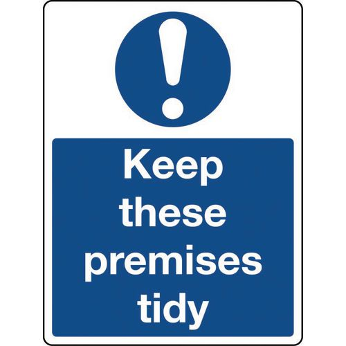 Sign Keep These Premises Tidy Self-Adhesive Vinyl 300x100