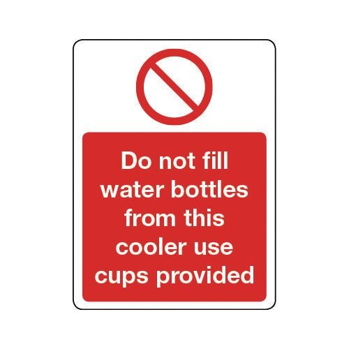Sign Do Not Fill Water Bottles Self-Adhesive Vinyl 150x200