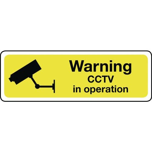 Warning Cctv Self-Adhesive Vinyl 600x200