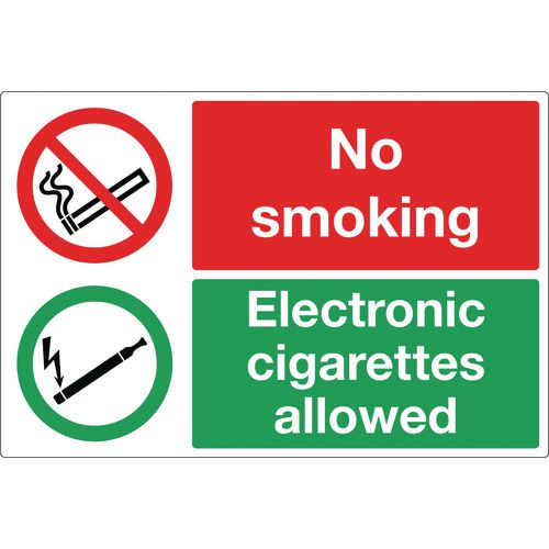 No Smoking Electronic Cigarettes Allowed Self-Adhesive Vinyl 300x200 mm