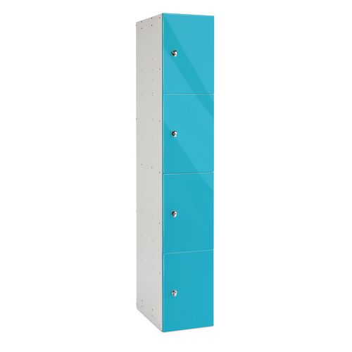 4 door Steel Body Locker Marmarablue Door 1780x305x315mm With Single Gloss Mdf Doors