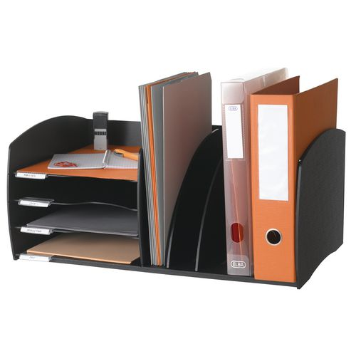 Fast Paper Desktop Office Organiser 4 Compartment Black