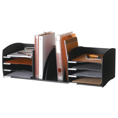 Fast Paper Desktop Office Organiser 8 Compartment Black