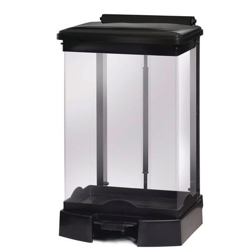 65 Litre All Plastic Removable Clear Body Fire Retardant Sack Holder Black Lid