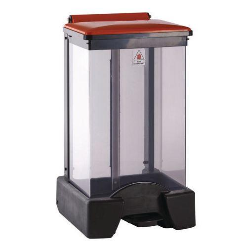 65 Litre All Plastic Removable Clear Body Fire Retardant Sack Holder Orange Lid