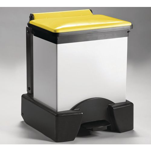 30 Litre All Plastic Removable Body Fire Retardant Sack Holder Yellow Lid
