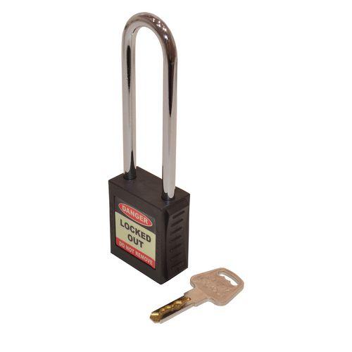 Safety Lockout Padlocks Long Shackle  Black (Each)