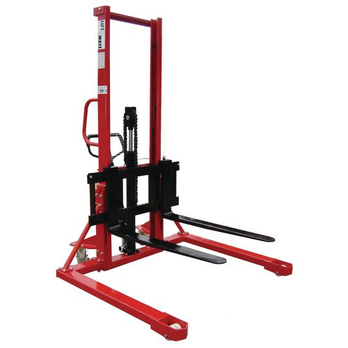1000Kg Straddle Manual Pallet Stacker 1600mm Height Lift With Adjustable Forks