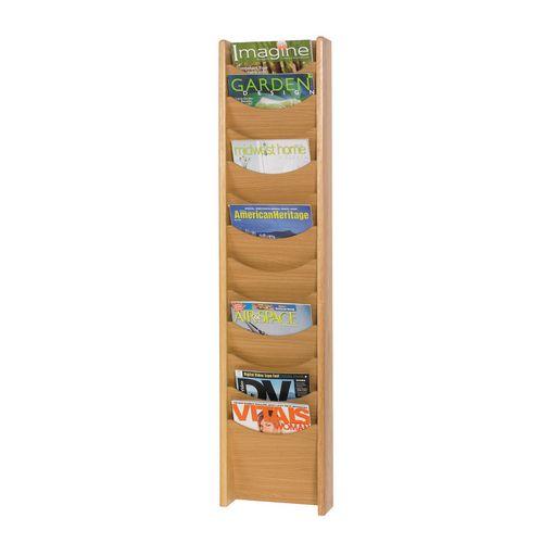 Oak Wall Literature Dispenser 12 Pockets