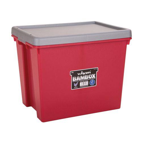 Wham Bam 24L Heavy Duty Box &Lid Chilli Red/Silver
