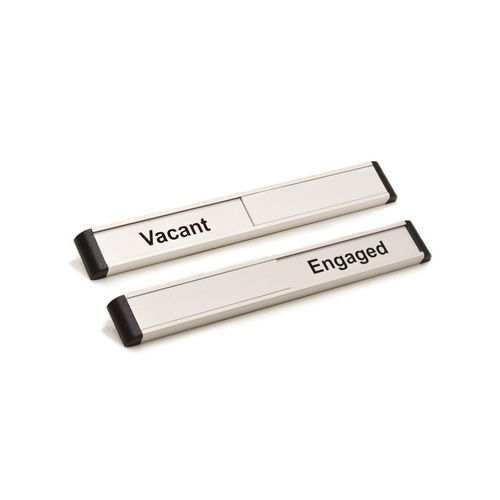 Door Slider 220mmx30mm Silver Anodised With Black Text Vacant / Engaged