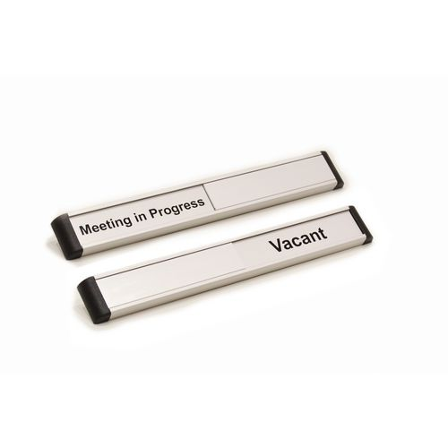 Door Slider 220mmx30mm Silver Anodised With Black Text Meeting In Progress / Vacant