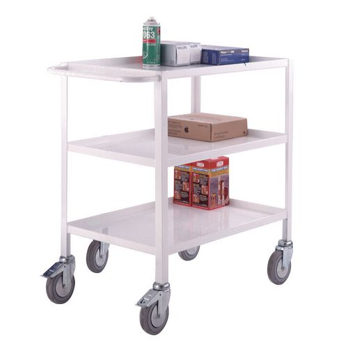 Three Tier Service Trolley With Two Handles &Braked Castors