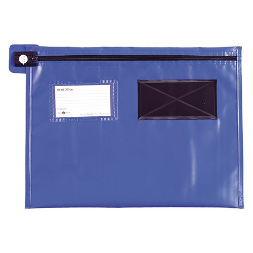 Long Zip Flat Pouch Blue 406x305mm
