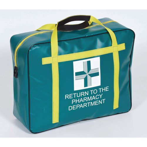 Padded Parmacy Tamper Evident Holdall Green And Yellow 460x360x150mm