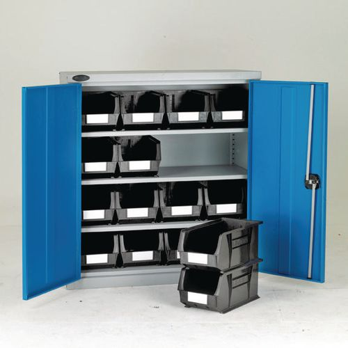 Low Steel Cabinet With Blue Doors 3 Shelves And 16 Grey Linbins