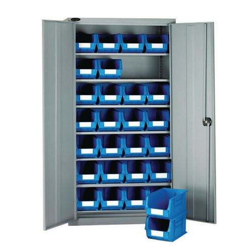 High Steel Cabinet 1780mm With Grey Doors 6 Shelves And 28 Blue Linbins