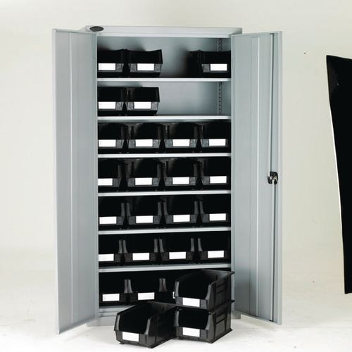 High Steel Cabinet 1780mm With Grey Doors 6 Shelves And 28 Black Linbins