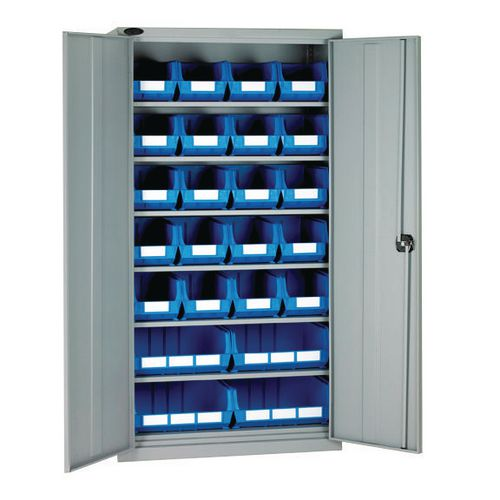 High Steel Cabinet 1780mm With Grey Doors 6 Shelves And 24 Blue Linbins