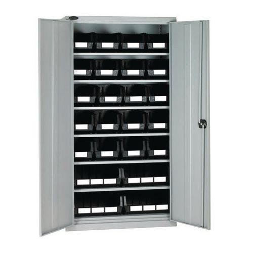 High Steel Cabinet 1780mm With Grey Doors 6 Shelves And 24 Black Linbins