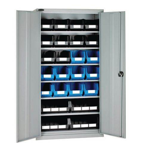 High Steel Cabinet 1780mm With Grey Doors 6 Shelves And 24 Black And Blue Linbins