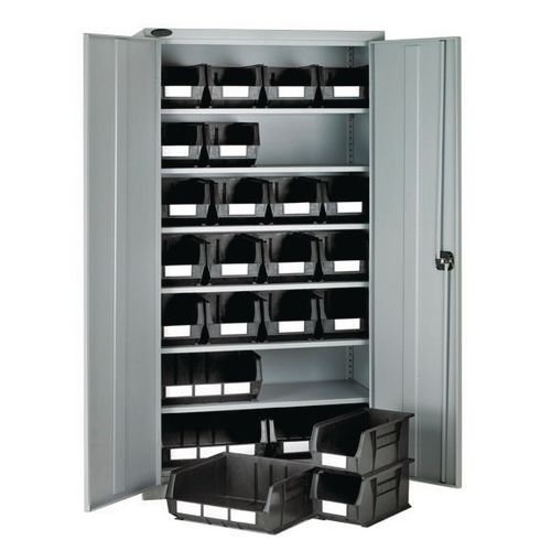 High Steel Cabinet 1780mm With Grey Doors 6 Shelves And 24 Grey Linbins