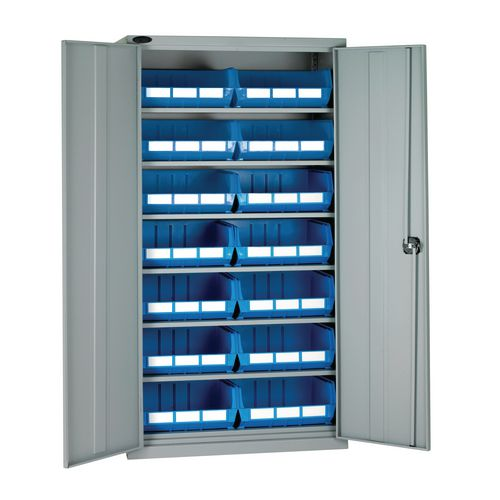 High Steel Cabinet 1780mm With Grey Doors 6 Shelves And 14 Blue Linbins