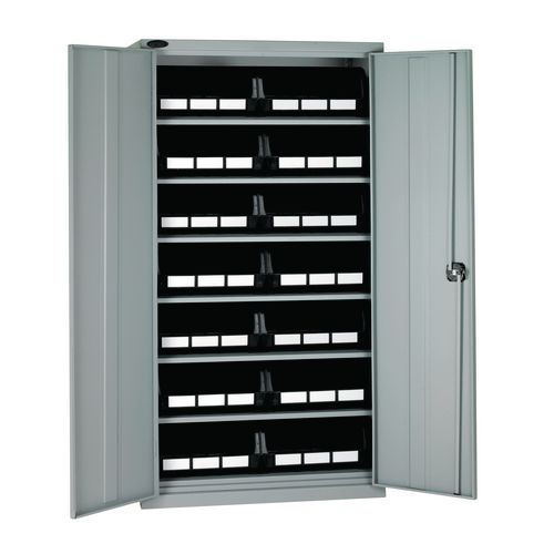 High Steel Cabinet 1780mm With Grey Doors 6 Shelves And 14 Black Linbins