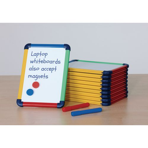 Small Hand-held Double Sided Laptop Whiteboard With Colour Frame A4 Pack of 10