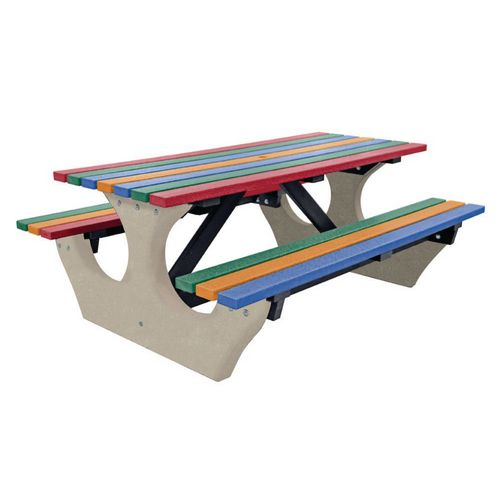 Big Bench Concrete With Recycled Plastic Seats And Table Top Multi Coloured