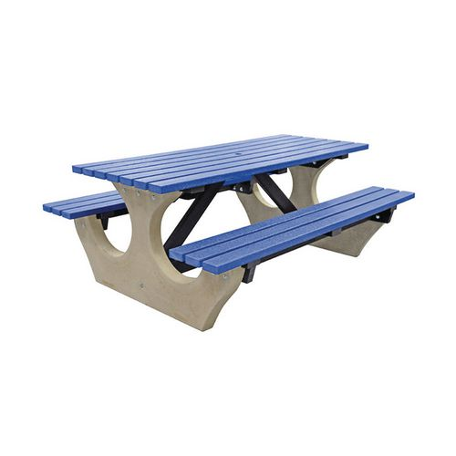 Big Bench Concrete With Recycled Plastic Seats And Table Top Blue
