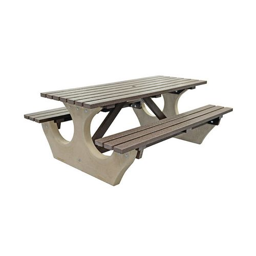 Big Bench Concrete With Recycled Plastic Seats And Table Top Brown