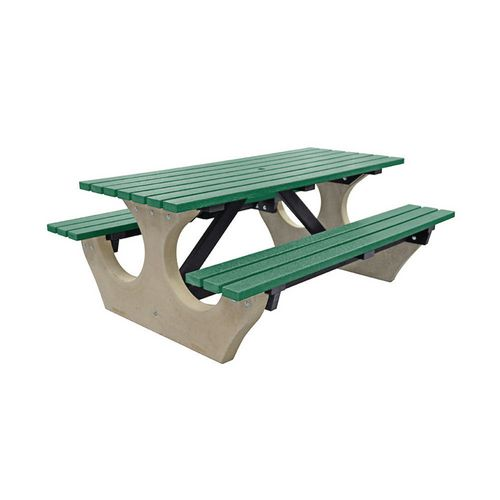 Big Bench Concrete With Recycled Plastic Seats And Table Top Green