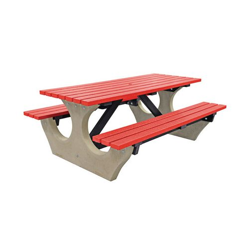 Big Bench Concrete With Recycled Plastic Seats And Table Top Red