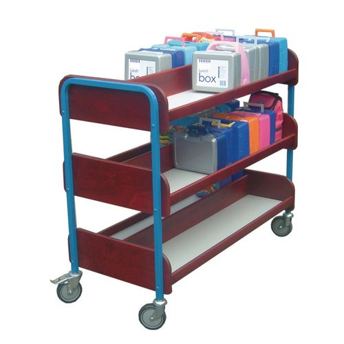 Large Double Sided Lunchbox Trolley Red Frame/Blue Shelves