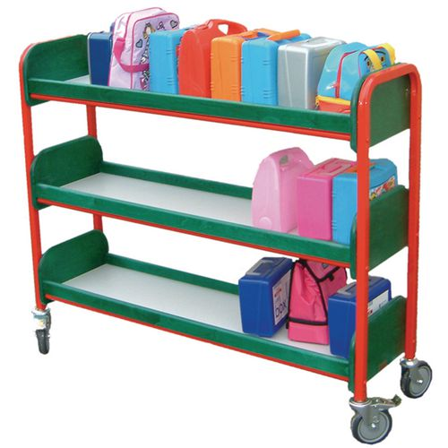Large Single Sided Lunchbox Trolley Red Frame/Blue Shelves