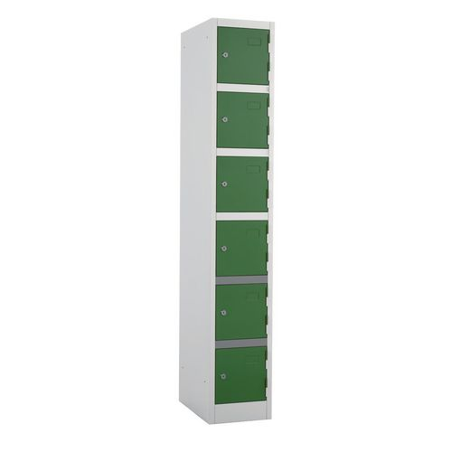Metal Locker 1800x300x450 6 Door Green Door Key Lock