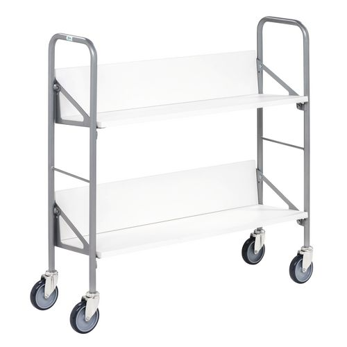 Archive/Book Trolley With White Shelves. LxWxH 900x300x920mm