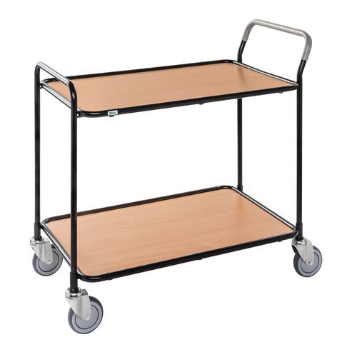 Light Duty Two Tier Trolley. Beech Shelves Black Painted Frame