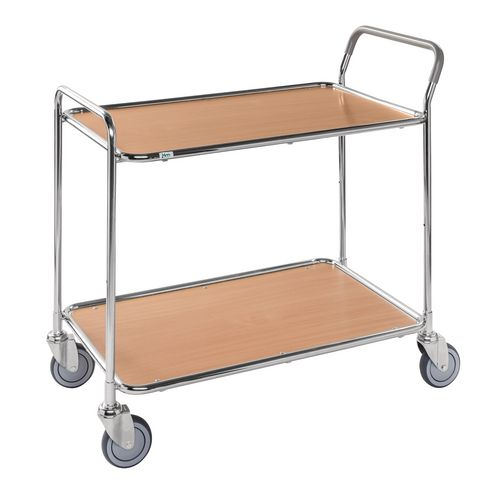 Light Duty Two Tier Trolley. Beech Shelves Galvanised Frame