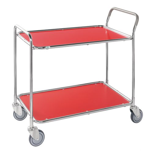 Light Duty Two Tier Trolley. Red Shelves Galvanised Frame