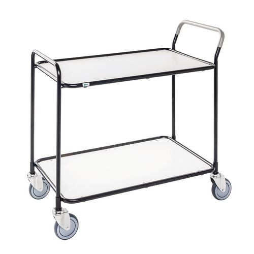 Light Duty Two Tier Trolley. White Shelves Black Painted Frame