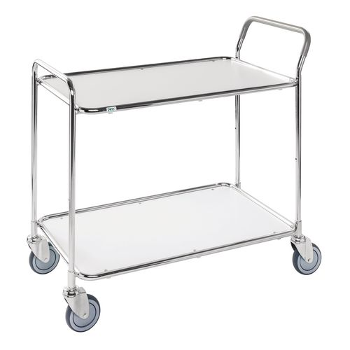 Light Duty Two Tier Trolley. White Shelves Galvanised Frame