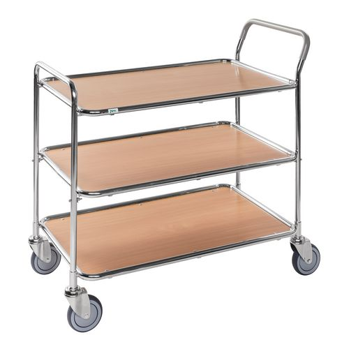 Light Duty Three Tier Trolley. Beech Shelves Galvanised Frame