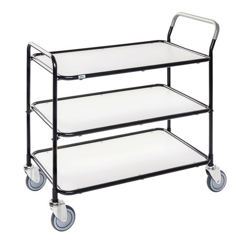 Light Duty Three Tier Trolley. White Shelves Black Painted Frame